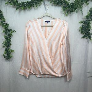 APT. 9 Pink & Ivory Stripped Wrap Front Blouse